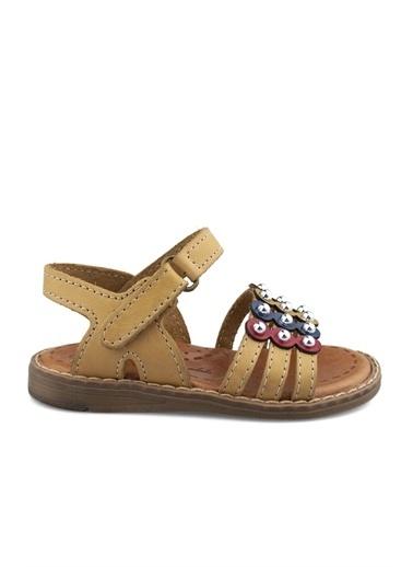 Cicibebe Deri Kız Çocuk Sandalet Krem